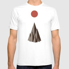 Minimal Mountains Mens Fitted Tee White SMALL
