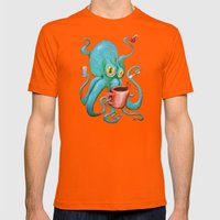 Michelle's Coffee Drinking Octopus Mens Fitted Tee Orange SMALL