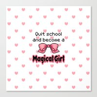 Kawaii Quit School Becom… Canvas Print