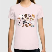 Dog pattern Womens Fitted Tee Light Pink SMALL