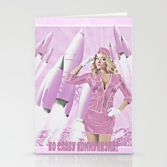 Communism rocks (in pink) Stationery Card