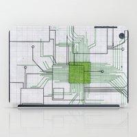 Circuit board green iPad Case