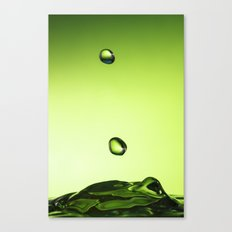 Green water drops Canvas Print