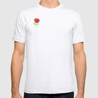 Rose Outline | Floral Mens Fitted Tee Ash Grey SMALL