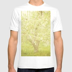 Cherry Tree White Mens Fitted Tee SMALL