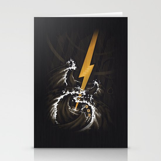Electric Guitar Storm Stationery Card