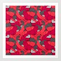 Purrrfect Pattern (Red) Art Print