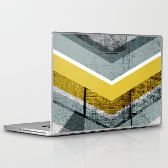 Grey & Yellow Chevron Laptop & iPad Skin