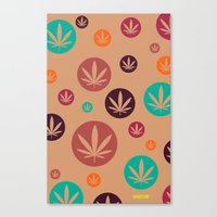 Canvas Print featuring GGDUB - Burnt Orange Weed Leaf Textile~  by GGDUB