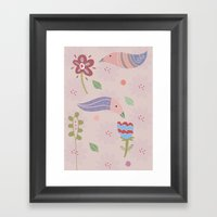 flowers and birds Framed Art Print