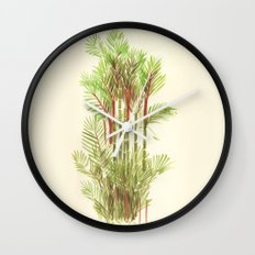 Palmier Rouge - Red Palmtree Wall Clock