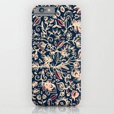 Navy Garden - floral doodle pattern in cream, dark red & blue iPhone 6 Slim Case