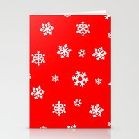 Snowflakes (White On Red… Stationery Cards