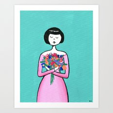 Ramona holds a bouquet of flowers Art Print