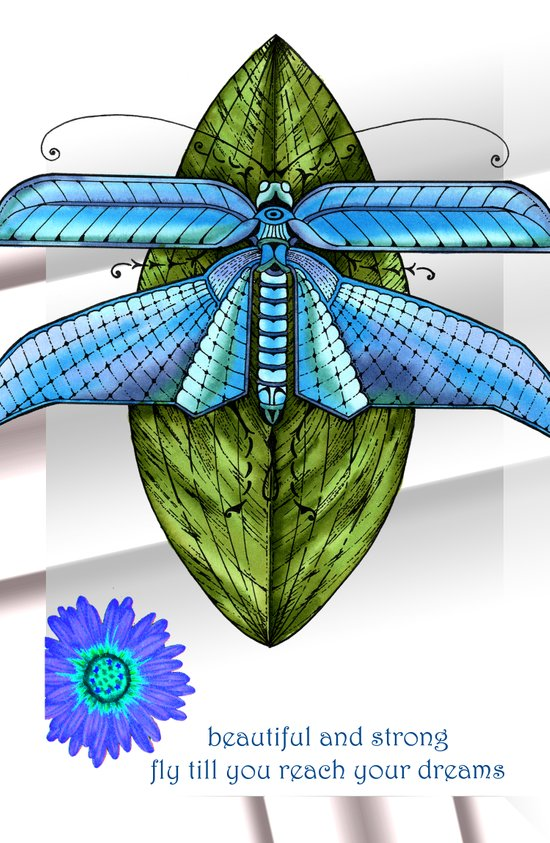Dragonfly To The Clouds Art Print