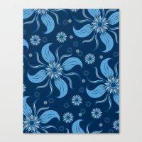 Floral Obscura Dark Blue Canvas Print