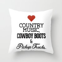 Love Country Music, Cowb… Throw Pillow
