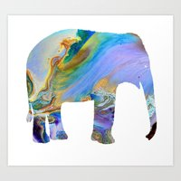 Melting Elephant Art Print
