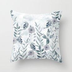 Watercolor floral garden II Throw Pillow