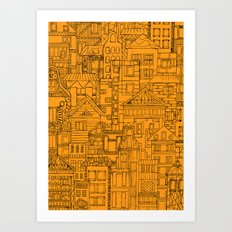 Houses - Orange Art Print