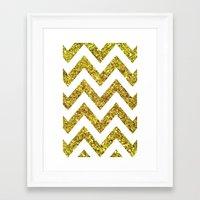 GOLD GLITTER CHEVRON Framed Art Print