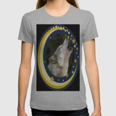 Lonely Wolf Womens Fitted Tee Athletic Grey SMALL