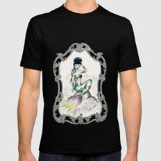 Green Mermaid Pin-up SMALL Black Mens Fitted Tee