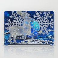 Silver Blue Deer iPad Case