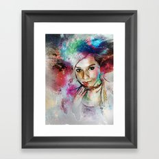 Girl with Multi-Colored Hair Framed Art Print