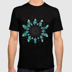 We live by the sun, We feel by the moon. SMALL Black Mens Fitted Tee