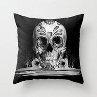 Pulled sugar, day of the dead skull Throw Pillow