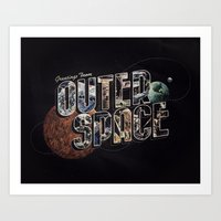 Art Print featuring Greetings From outer Space (color 02) by Eric Zelinski