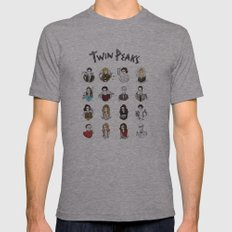 twin peaks Mens Fitted Tee Athletic Grey SMALL