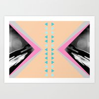 Peachy with Blue Triangles Art Print