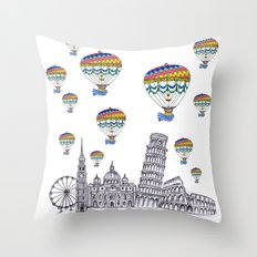 Travel with Air Balloons Throw Pillow