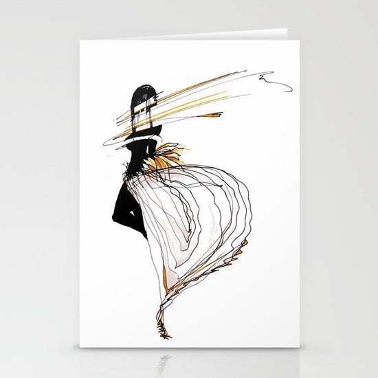 NEON GIRL Stationery Card