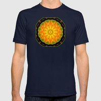 Citrus Slice Kaleidoscope Mens Fitted Tee Navy SMALL