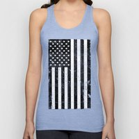 Dirty Vintage Black and White American Flag Unisex Tank Top