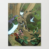 Pigeons, Parakeets And F… Canvas Print