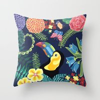 Natures Confetti Toucan Throw Pillow
