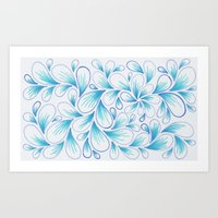 Cerulean Spray  Art Print