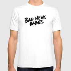 Bad News Babes White Mens Fitted Tee SMALL