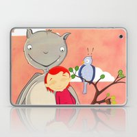 Friendly giant bat and girl digital illustration Laptop & iPad Skin