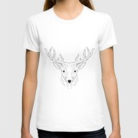 Deer Lines Womens Fitted Tee White SMALL