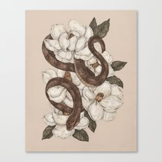 Snake and Magnolias Canvas Print