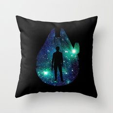 Han Solo and Cosmic Millennium Falcon Throw Pillow