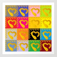 Gold Hearts On Colorful … Art Print