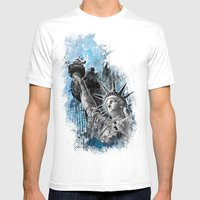 Lady Liberty Mens Fitted Tee White SMALL