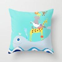 Taxi Whale Throw Pillow