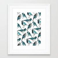pale green birds Framed Art Print